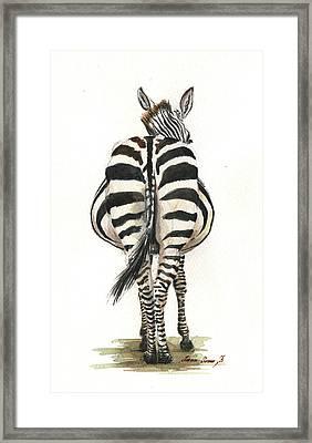 Zebra Back Framed Print by Juan Bosco