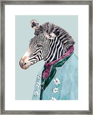 Zebra Blue Framed Print by Animal Crew