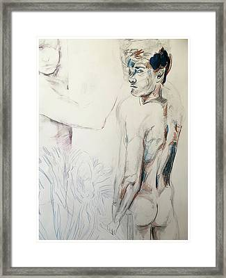 Zebra Boy Sketch 2017 Framed Print by Rene Capone