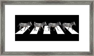 Zebra Crossing In Black And White Framed Print by Gill Billington