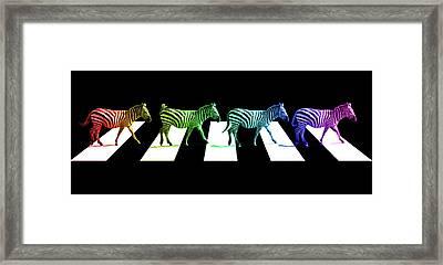 Zebra Crossing Pop Art On Black And White Framed Print by Gill Billington