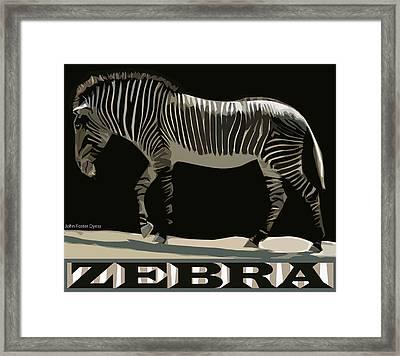Framed Print featuring the digital art Zebra Design By John Foster Dyess by John Dyess