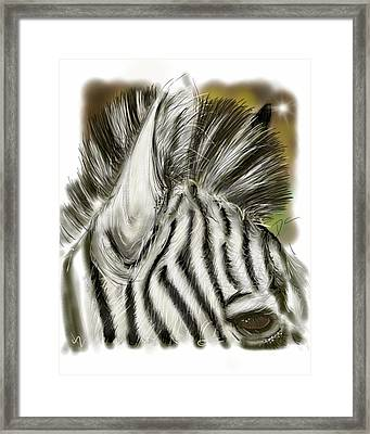 Framed Print featuring the digital art Zebra Digital by Darren Cannell