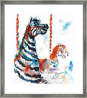 Zebra Gets A Ride The Ocean City Boardwalk Carousel Framed Print