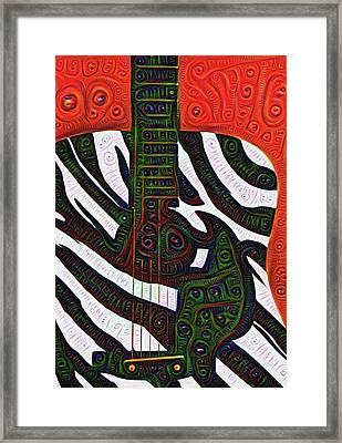 Zebra Guitar Rendering Framed Print by Bill Cannon