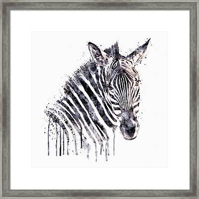Zebra Head Framed Print by Marian Voicu