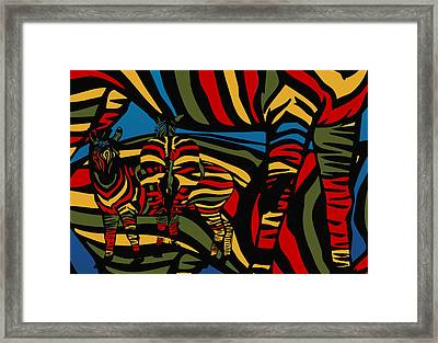Zebra In The Jungle Framed Print by Mark Ashkenazi