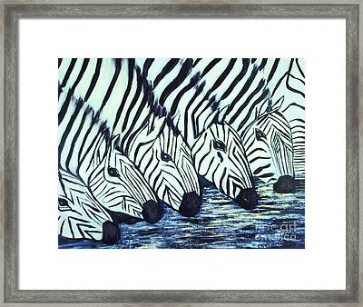 Framed Print featuring the painting Zebra Line by Donna Dixon