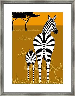 Zebra Mare With Baby Framed Print