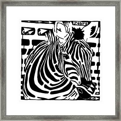 Zebra Maze Framed Print by Yonatan Frimer Maze Artist