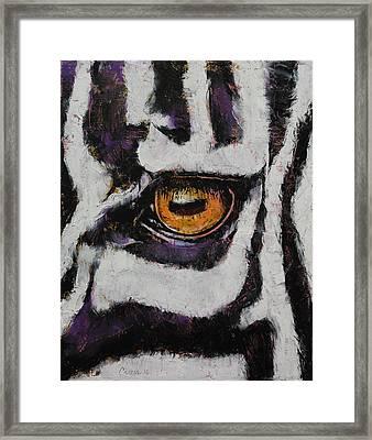 Zebra Framed Print by Michael Creese