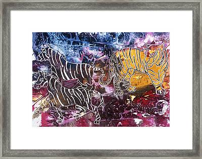 Framed Print featuring the painting Zebra by Sima Amid Wewetzer