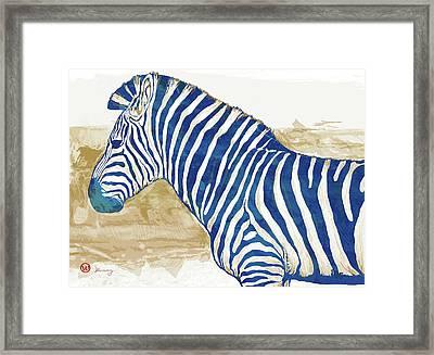Zebra - Stylised Pop Art Poster Framed Print by Kim Wang