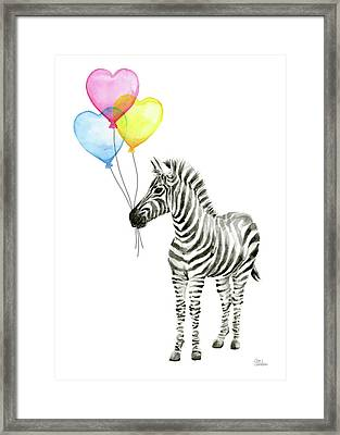 Baby Zebra Watercolor Animal With Balloons Framed Print