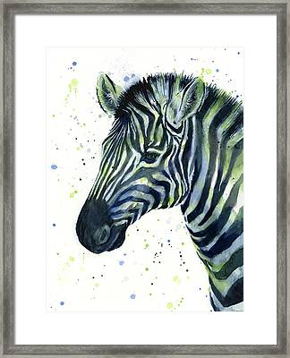 Zebra Watercolor Blue Green  Framed Print by Olga Shvartsur