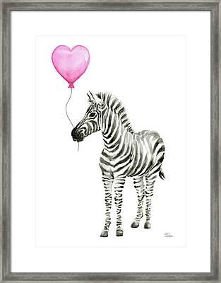Zebra Watercolor Whimsical Animal With Balloon Framed Print by Olga Shvartsur