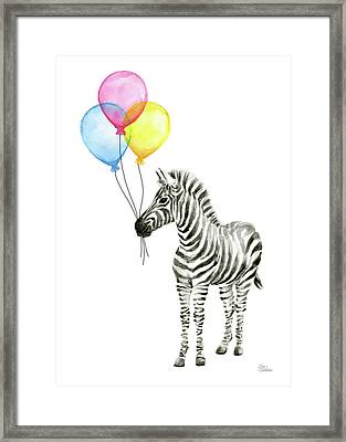 Zebra Watercolor With Balloons Framed Print