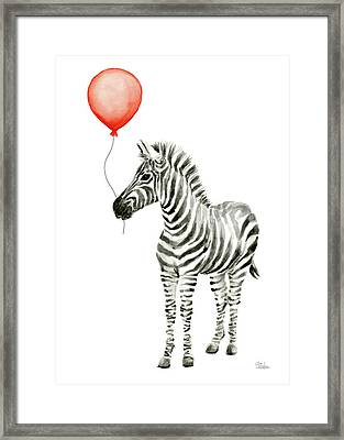 Zebra With Red Balloon Whimsical Baby Animals Framed Print by Olga Shvartsur