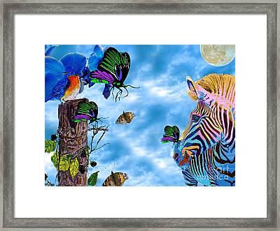Zebras Birds And Butterflies Good Morning My Friends Framed Print