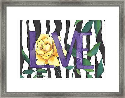 Zebras In Love Framed Print by Faith Teel