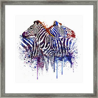 Zebras In Love Framed Print by Marian Voicu