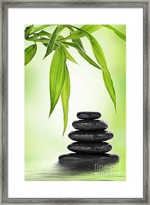 Zen Basalt Stones And Bamboo Framed Print