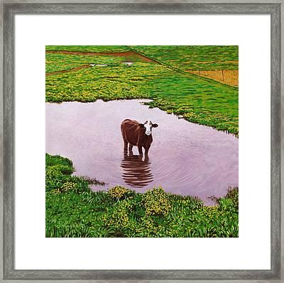 Zen Cow Framed Print