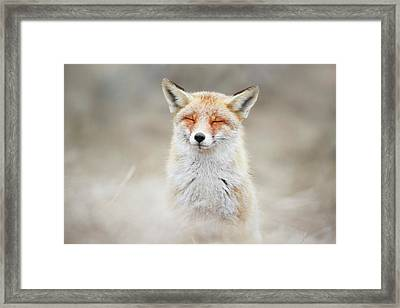 Zen Fox Series - What Does The Fox Think? Framed Print by Roeselien Raimond