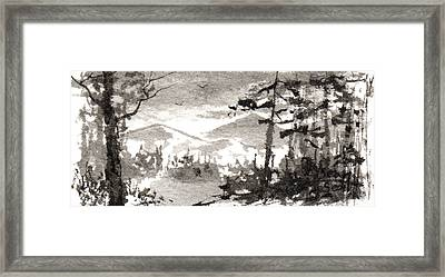 Zen Ink Landscape 2 Framed Print by Sean Seal