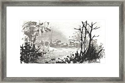 Framed Print featuring the painting Zen Ink Landscape 3 by Sean Seal
