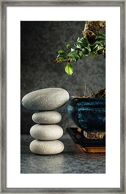Zen Stones And Bonsai Tree Framed Print by Marco Oliveira