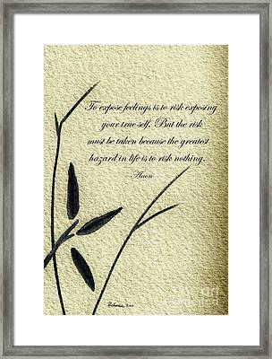 Zen Sumi 4m Antique Motivational Flower Ink On Watercolor Paper By Ricardos Framed Print