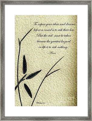 Zen Sumi 4n Antique Motivational Flower Ink On Watercolor Paper By Ricardos Framed Print