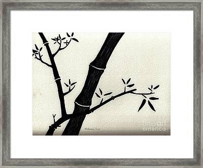 Zen Sumi Antique Bamboo 2a Black Ink On Fine Art Watercolor Paper By Ricardos Framed Print by Ricardos Creations