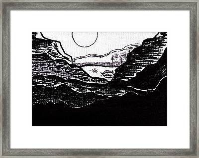 Zen Sumi Midnight Mountain Lake Original Black Ink On White Canvas By Ricardos Framed Print by Ricardos Creations