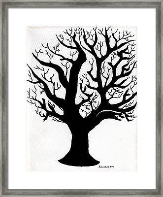 Zen Sumi Tree Of Life Enhanced Black Ink On Canvas By Ricardos Framed Print by Ricardos Creations