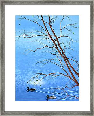 Zen Tree - Autumn Waterscape Framed Print by Rayanda Arts