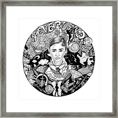 Zendaya's Neverland Black And White Drawing Framed Print by Kenal Louis