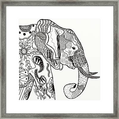 Zentangle Elephant Framed Print
