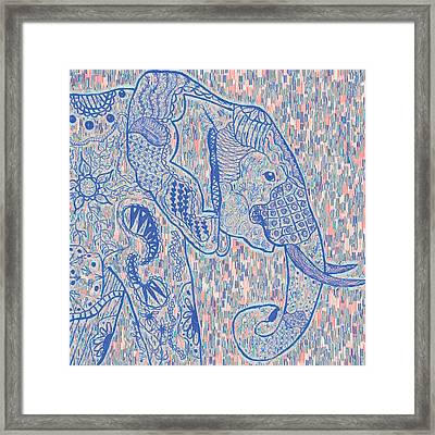 Zentangle Elephant-oil Framed Print