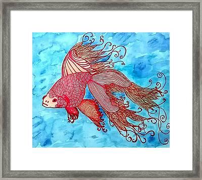Zentangle Goldfish Framed Print by Monnaray Bauer