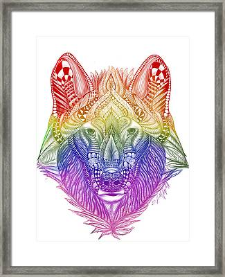 Zentangle Inspired Art- Rainbow Wolf Framed Print