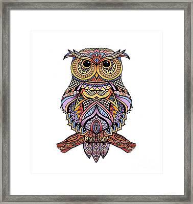 Zentangle Owl Framed Print by Suzanne Schaefer