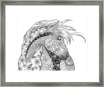 Zentangled Horse Framed Print