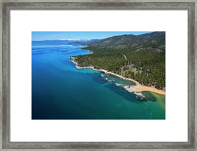 Framed Print featuring the photograph Zephyr Cove To Cave Rock Aerial by Brad Scott