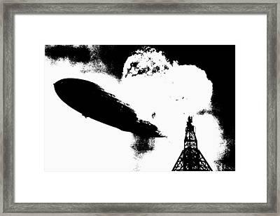 Zeppelin Hindenburg Explosion Graphic Framed Print
