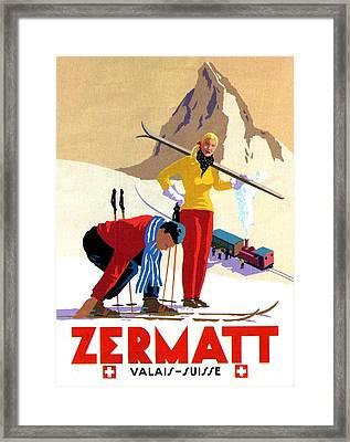 Zermatt, Switzerland, Ski Sport Framed Print