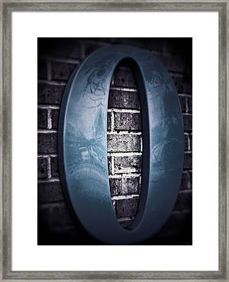 Zero Sea Blue Gray On Brick Framed Print by Tony Grider