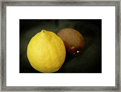 Zesty Group Is Banana And Passion Fruit. Framed Print by Elena Perelman
