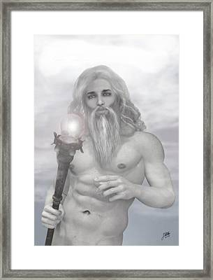 Zeus As Gray Wizard Framed Print by Joaquin Abella